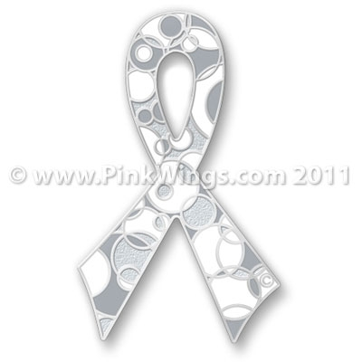 White And Grey Retro Ribbon For Brain Lung Or Bone Cancer Awareness