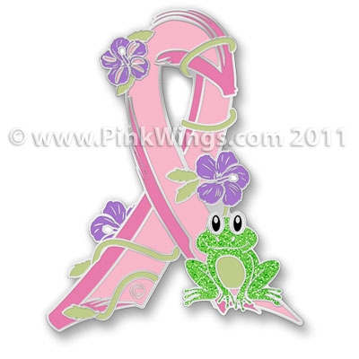 Frog Pink Ribbon Pin Cancer Awareness Pin
