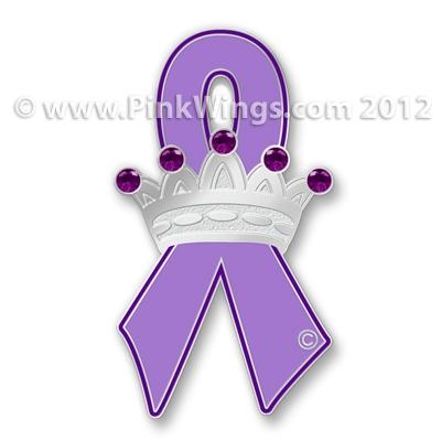 Crown Purple Ribbon Pin